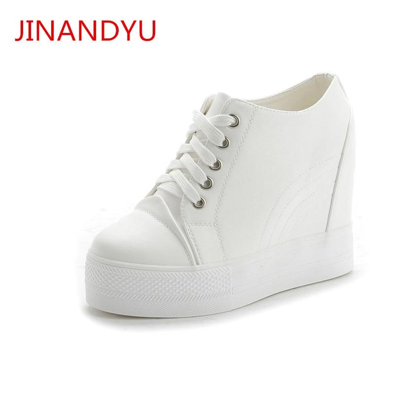 Woman Fashion White Black 11CM Hidden Wedge Shoes Platform Sneakers for Women Casual Shoes Woman Platform