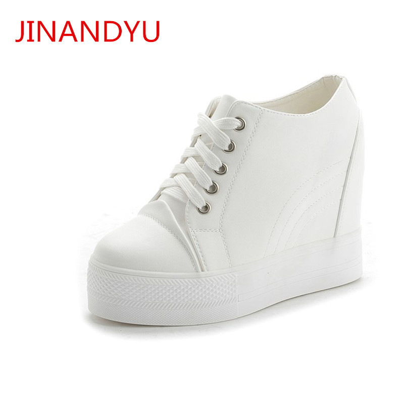 Woman Fashion White Black 11CM Hidden Wedge Shoes Platform Sneakers for Women Casual Shoes Woman Platform Footwear Zapatos Mujer цена