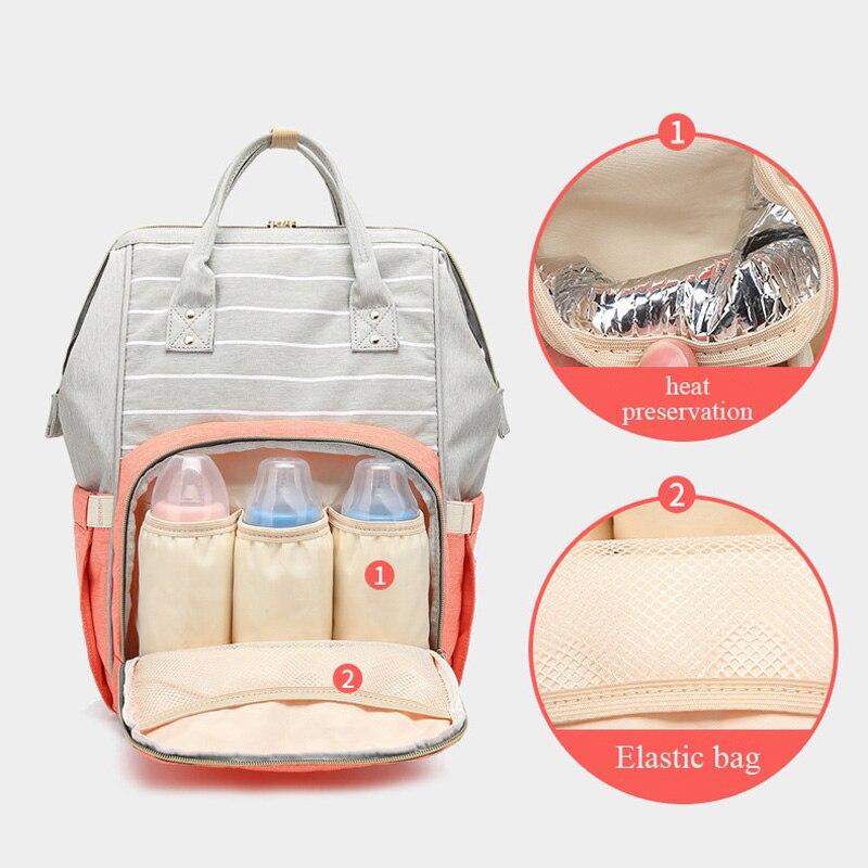 Image 3 - Fashion Mummy Bag Striped Maternity Nappy Bag Large Capacity Baby Bag Travel Backpack Designer Nursing Bag for Baby CareDiaper Bags   -