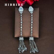 Модные женские серьги с длинной цепочкой и кисточками из прозрачного кубического циркония, серьги-подвески в виде Букле д 'орели, ювелирные изделия, серьги,, E-833
