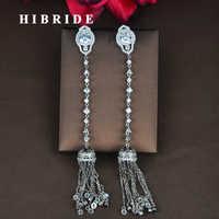 HIBRIDE mode clair cubique Zircon femmes longue chaîne gland boucles d'oreilles Pendientes Boucle d'oreille bijoux Brincos en gros E-833