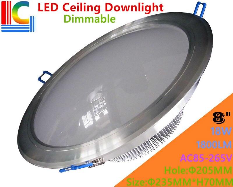 Ультра-яркий затемнения 8in. 18 Вт светодиодный потолочный светильник 110 В 220 В ac-265v высокое Мощность встраиваемый потолочный светильник ce для ...