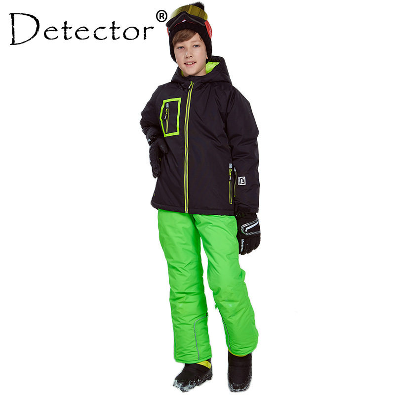 Detector Boys Ski Snowboard Set Winter Waterproof Windproof Kids Ski Jacket Children Outdoor Warm Hooded Sports Suits