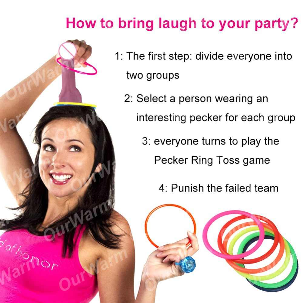 OurWarm 1 Set Bachelorette Party Supplies Penis Toss Dick Heads Bride To Be Hen Night Ring Toss Game Bridal Shower Decoration