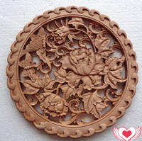 Chinese Style Wood Carving Handicrafts Camphor Wood Carving Animals And Flowers Interior And Exterior Decoration Supplies