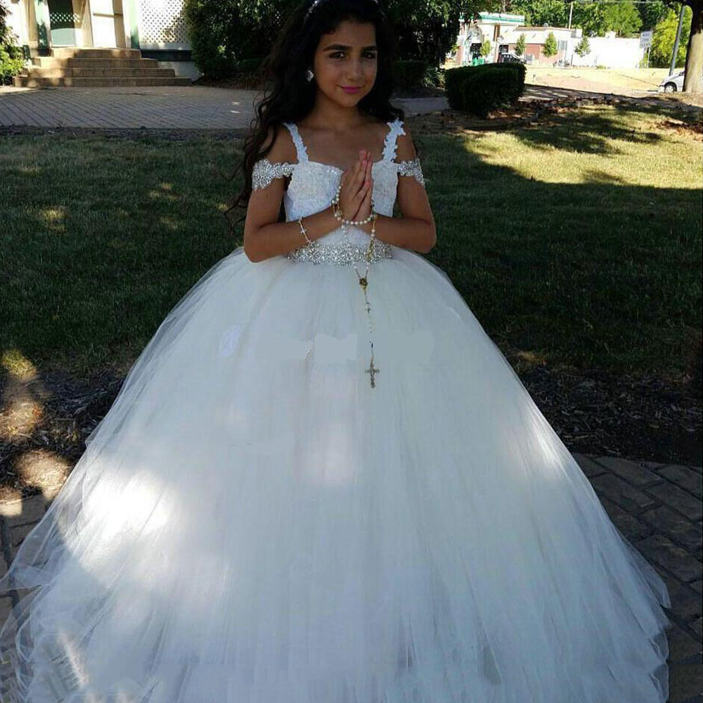 New 2019 White Ball Gown   Flower     Girl     Dresses   For Wedding Spaghetti Straps Tulle with Beads First communion   dresses   For   Girls