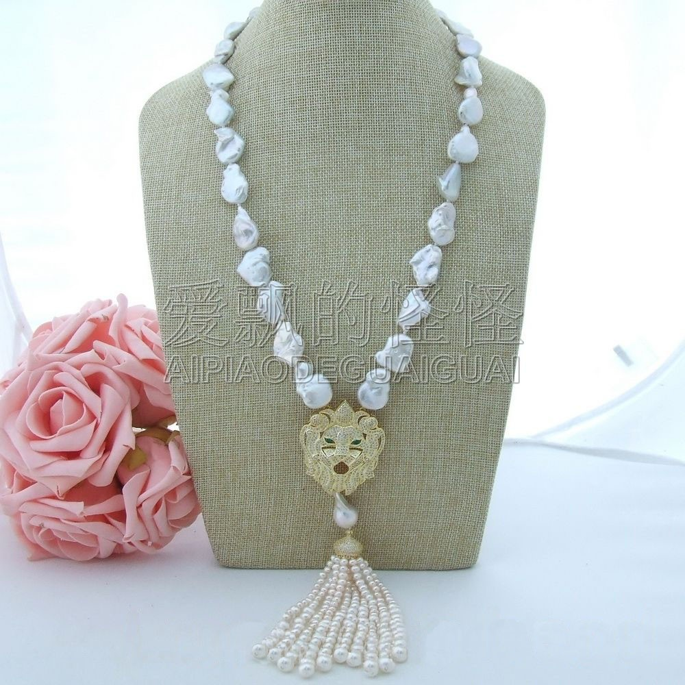 N072510 25 White Keshi Pearl Necklace CZ PendantN072510 25 White Keshi Pearl Necklace CZ Pendant