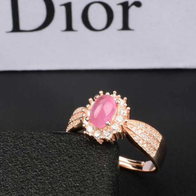 Natural red ruby stone Ring Natural gemstone Ring S925 sterling silver trendy Elegant Diana round women