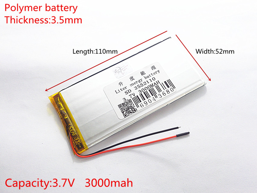 best battery brand rechargeable batteries 3.7V 3000mah polymer lithium Li-ion battery for tablet pc 7 inch MP3 MP4 3552110
