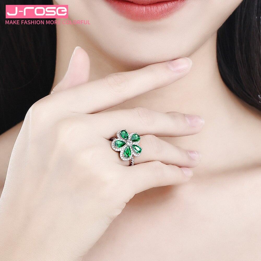 Jrose bijoux haut de gamme de luxe, 100%, 925 standard argent anniversaire classique fleur bijoux bague de fiançailles de mariage pour les femmes - 6