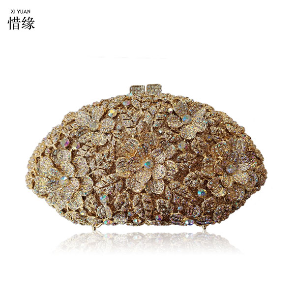 XIYUAN BRAND women evening bag Luxury Rhinestone PARTY birthday clutch bag crystal wedding handbags bride purse handbag for lady 2016 women fashion metallic rhinestone flower pattern crystal evening bag wedding bride clutch handbag