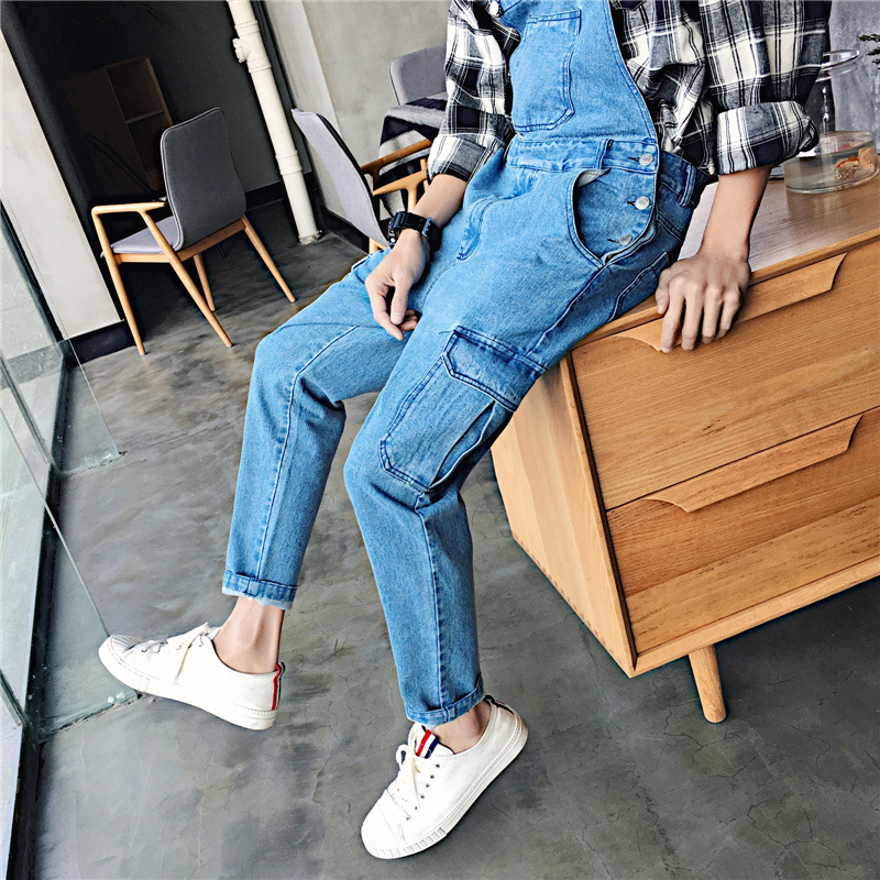 Spring Trend Salopettes Literature Cowboy Camisole 2018 Haren Work Clothes Male Pants Fashion Free shipping