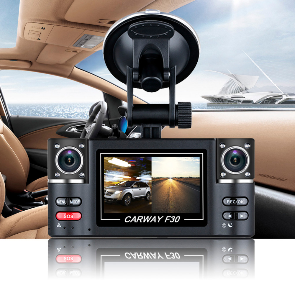 цена на Carway F30 Car DVR 2.7 TFT LCD HD 1080P Rotated Dual Lens Dash Camera Vehicle Digital Video Recorder Camcorder Night Vision