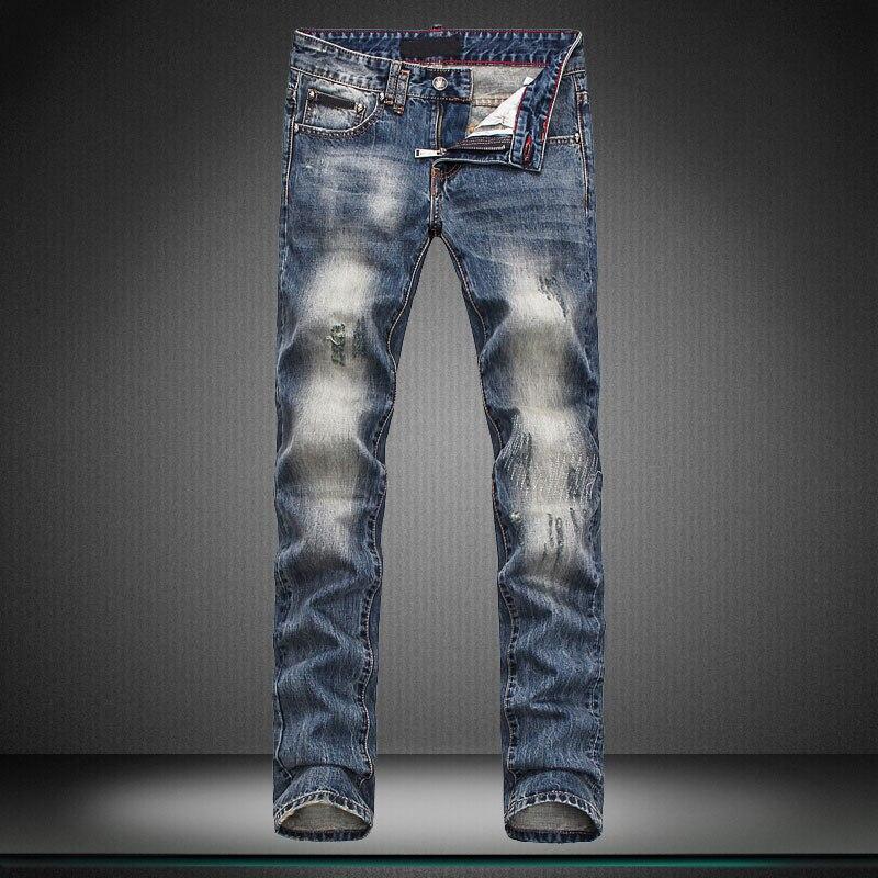 skeleton embroidery man biker jeansKorean Style straight straight leg pants hole brand pants trousers designer boy