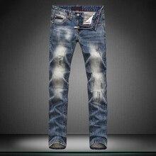 Скелет вышивка человек байкер jeansKorean Стиль прямой прямой ноги брюки отверстие бренд брюки брюки дизайнер мальчик джинсы мужчины