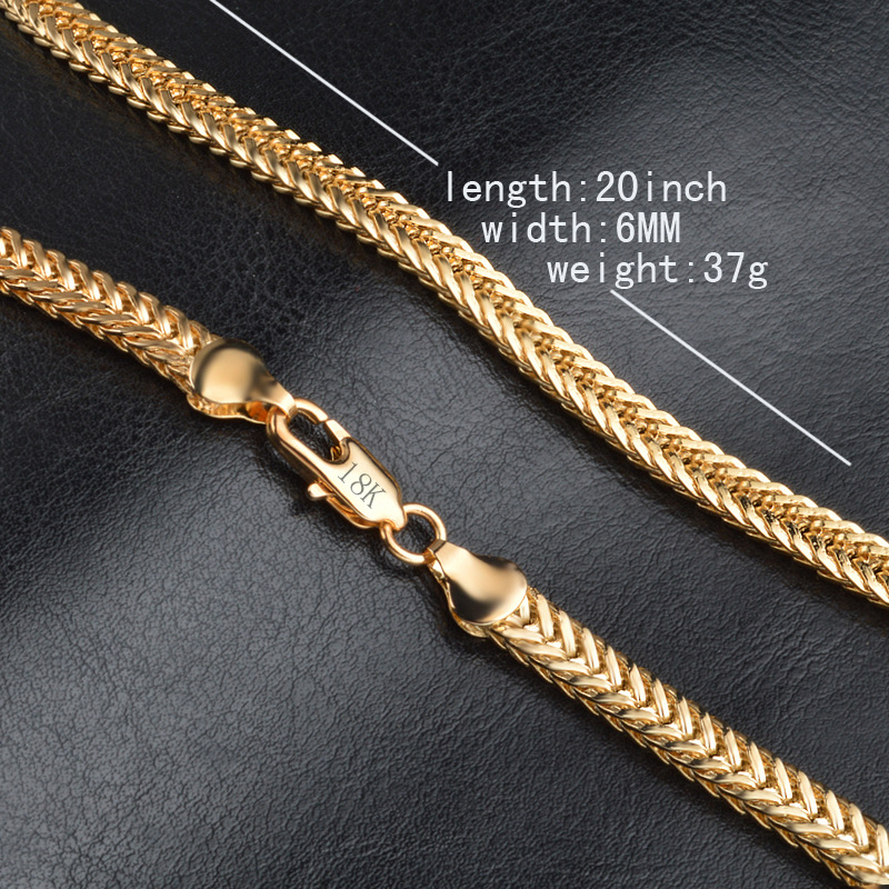 "Men Necklace 6MM 50CM 22"" Foxtail Franco Chains Trendy Gold Color Necklaces For Men Jewelry 1"