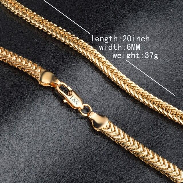 "Men Necklace 6MM 50CM 22"" Foxtail Franco Chains Trendy Gold Color Necklaces For Men Jewelry 1"