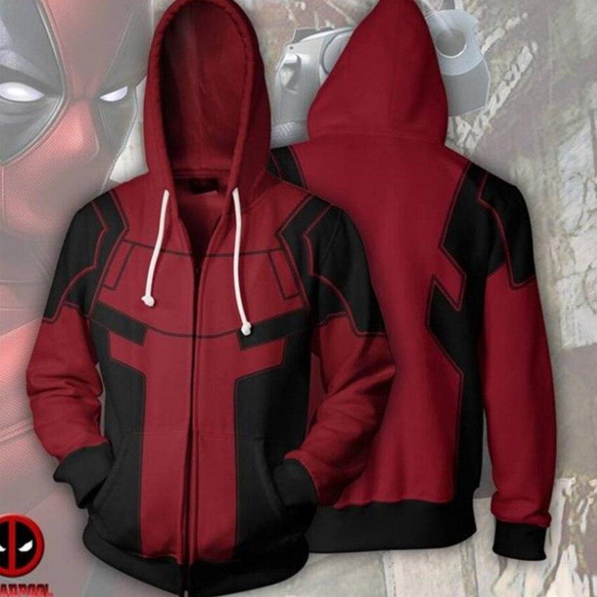 Deadpool Moive Cosplay Costume Hoodie Movie Zipper Sweatshirt