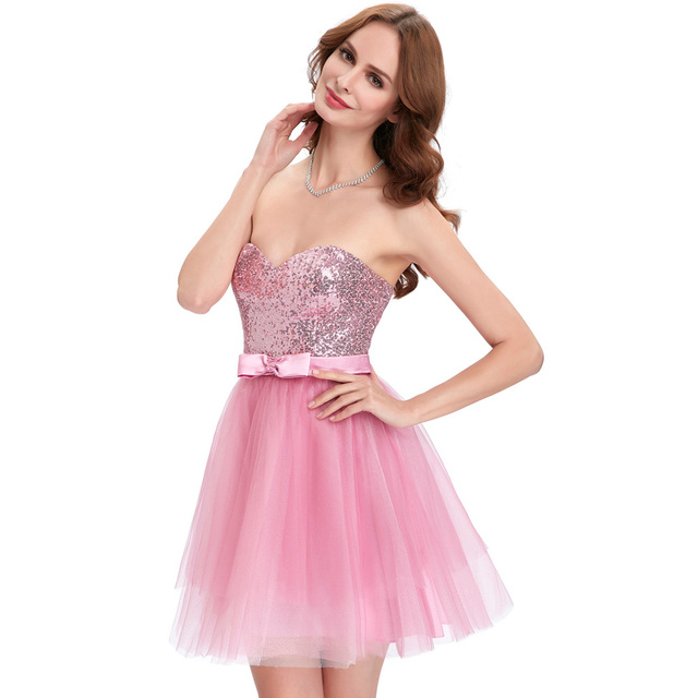 Elegant Apricot Pink Sequin Prom Dresses 2017 Strapless Tulle Homecoming  Dresses Graduation Ball Gown Sparkly Short 0d4594738596