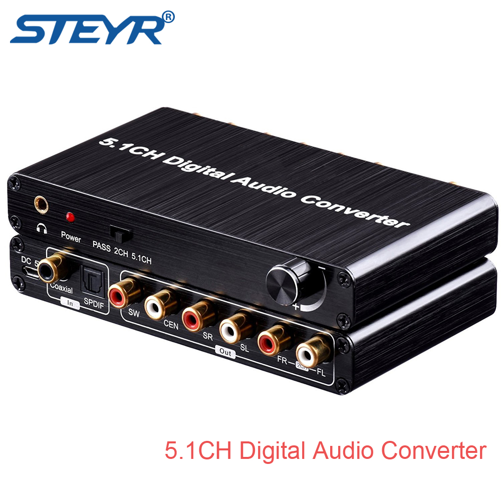 STEYR 5.1CH Digital to Analog Audio Decoder with Toslink SPDIF/Coaxial Support Volume Control AC3 DTS Dolby Audio Gear