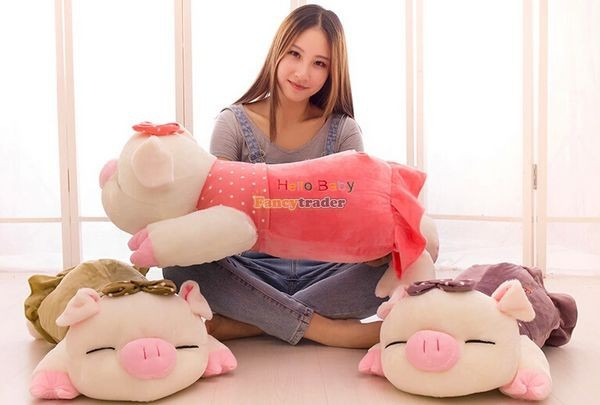 Fancytrader Hot Selling 35\'\' 90cm Super Lovely Soft Stuffed Giant  Lying Pig Toys ,3 Colors Available!Best Gift and Decoration for Kids, Free Shipping FT50069(6)