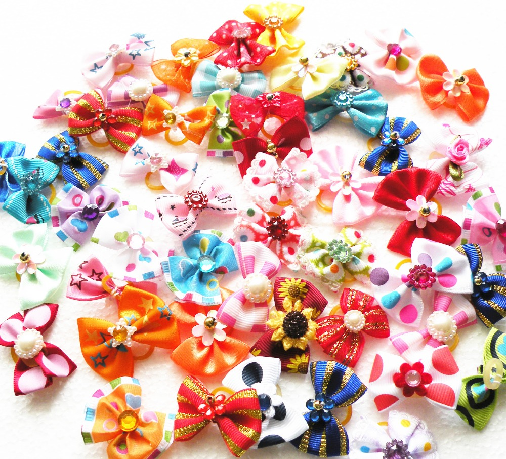 500PC Lot Dog Grooming Bows Dog Hair Bows Handmade Dog Accessories Yorkshire Pet Products