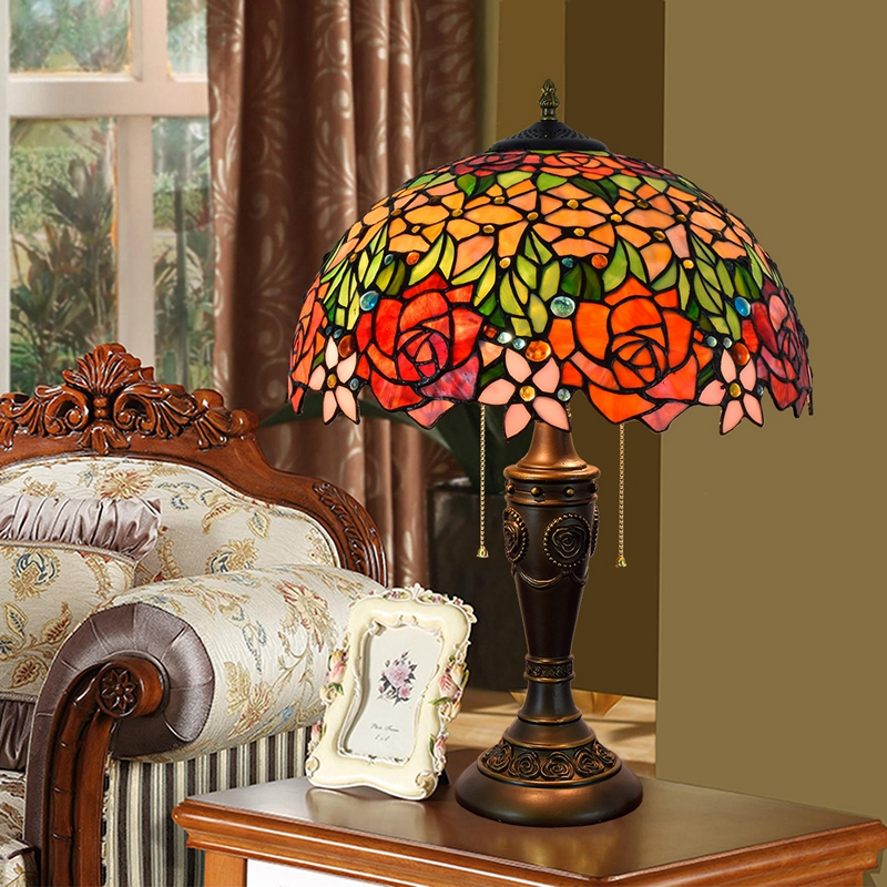 Eusolis 16 inch Mosaic Vintage Table Lamp Stained Glass ...