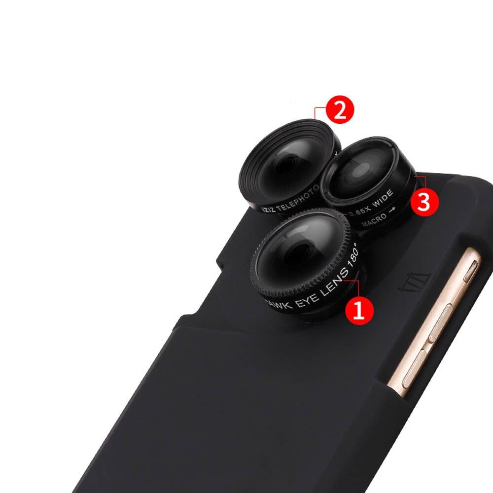 bilder für Weitwinkel Len Phone Cases Kombination 4 in 1 Clip Auf Fisheye-objektiv + Weitwinkel + Macro + 2x Zoom Für iPhone 6 6 PLus 6 s Plus