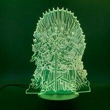 цена Led Night Light Game of Thrones Lord Eddard Stark Ned Iron Throne Nightlight for Friends Gift Office Room Decorative 3d Lamp онлайн в 2017 году