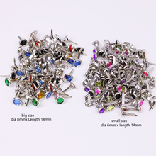 100pcs/lot colorful candy diamond color scrapbooking brads metal feet embellishment wedding decoration