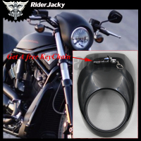 RiderJacky Black Motorcycle Cafe Racer Motorcycle Headlight Fairing Custom Visor Mask For Harley Sportster Dyna FX/XL