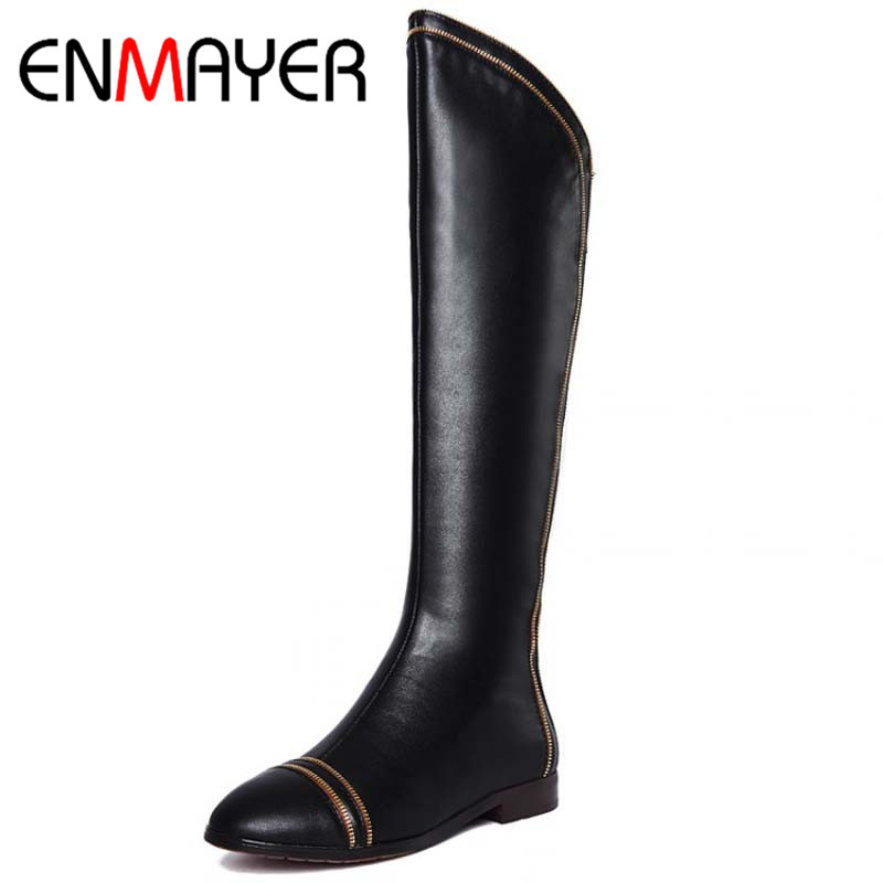ФОТО ENMAYER New Over Knee High Boots Flats Shoes Winter Fashion Sexy Warm Women Boots Ladies Motorcycle Round Toe Boots Shoes