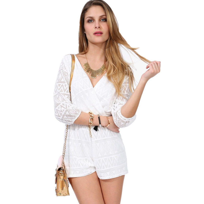 2016 Summer Lace Hollow Out White Casual Jumpsuits V Neck Sexy Shorts Macacao Female Clothes Coveralls Monos For Women