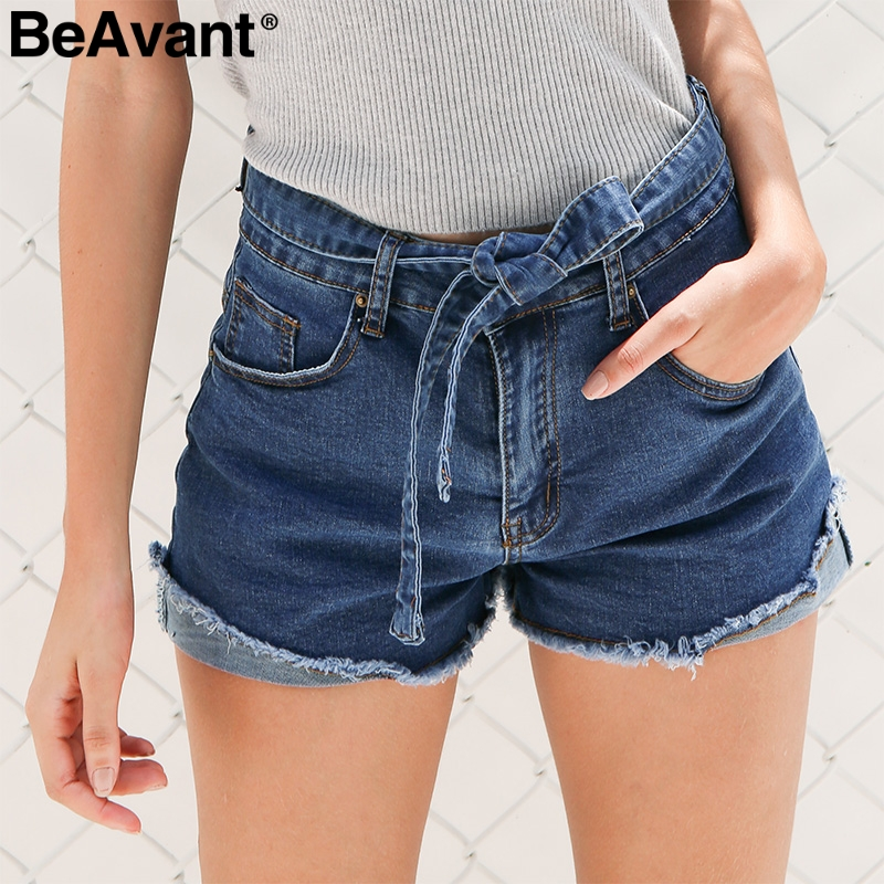 BeAvant High waist elastic bow denim shorts Women tassel button fringe blue shorts female Casual pocket summer jeans shorts 2018