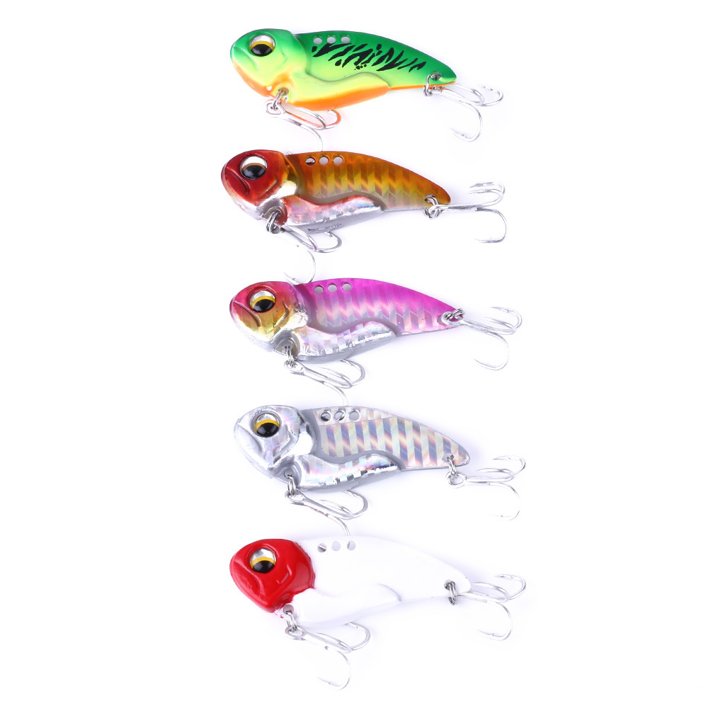 2019New 1Pcs 40mm 7g 11g 20g Metal VIB Fishing Lure Crankbait Bass Crank Bait Treble With 2 Hooks Spoon Bait Lead Fish Crankbait