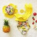 De una pieza del traje de baño floral traje de baño para niños niña niño ropa de niña trajes de baño niños traje de baño con gorro de baño