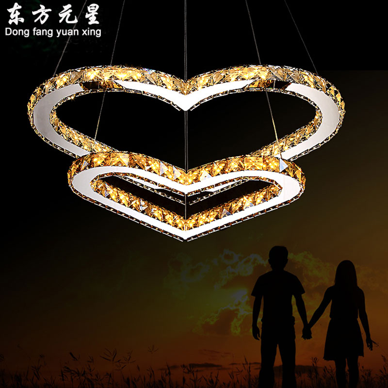 LED crystal chandelier light modern stainless steel lamp heart-shaped crystal lighting romantic princess bedroom indoor light