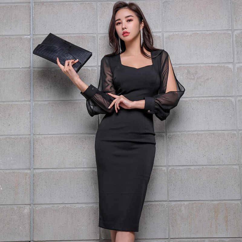 Black Elegant Office Dress 2019 Spring Women's Dress Chiffon Stitching nine-point sleeves Athens Generous Pencil Dress