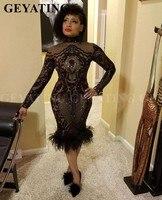 Блестящие Черный блесток короткая длина до колена платья выпускного вечера с пером миди с длинными рукавами Африканский Для женщин платье
