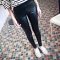 2016 Primavera Fina Mate de Cuero de LA PU Leggings Empuja Hacia Arriba de La Cintura de Punto Elástico Pantalones de Cuero Suave Negro Flacos de Las Polainas Pantalones de Las Mujeres