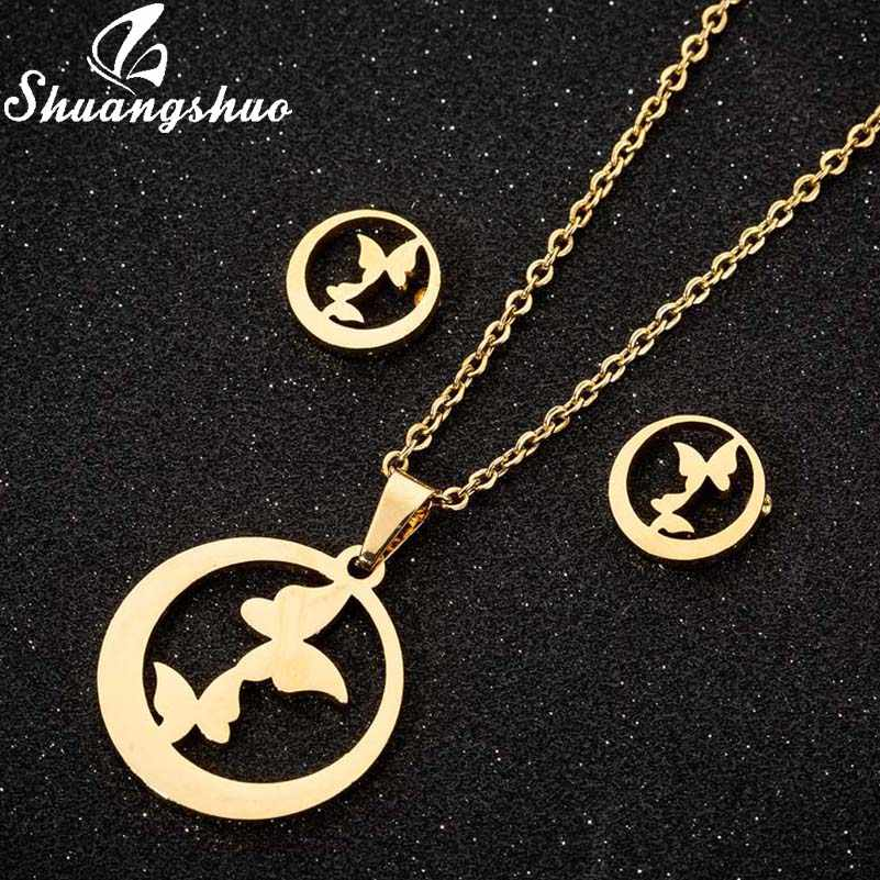 Shuangshuo Fashion Stainless Steel Butterfly Necklaces Jewelry Set For Women Round Gold Earrings Necklace Set Mother's Day Gifts