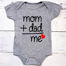 Mom Plus Dad Equals Me Cute Bodysuit Baby Shower Gift Clothes Apparel Toddler Shirts Newborn Announcement