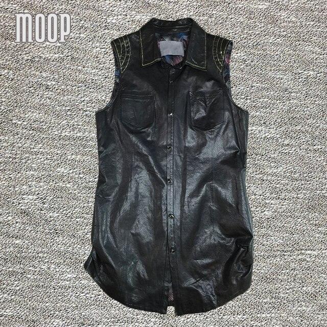 Negro chaleco 100% de piel de cordero de cuero genuino capa de foso de las mujeres cadenas decoración veste femme gilet colete chalecos mujer LT104