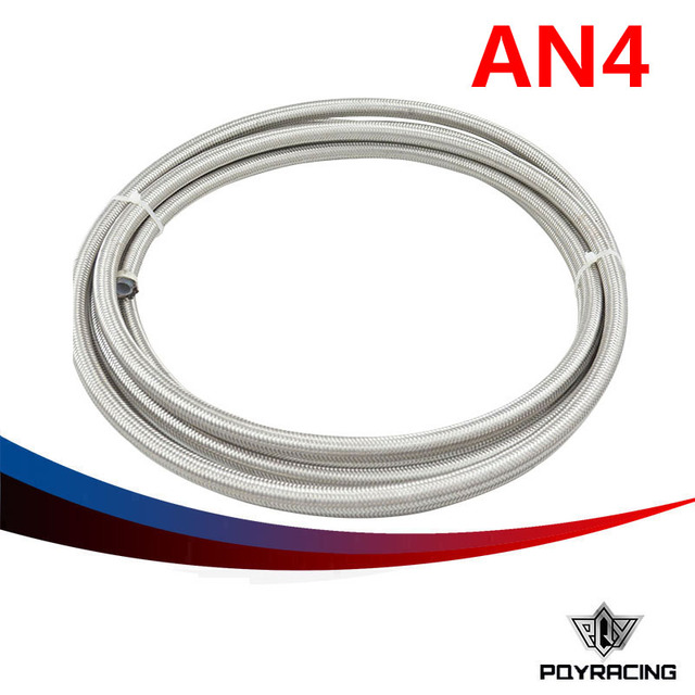 "PQY RACING- AN-4 AN4 3/16"" PTFE Stainless Braided Teflon Fuel Oil Line PQY7511"