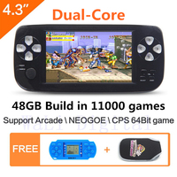 JXD 48GB 4.3 inch dual core Handheld Video Game Console build in 11000 game for NEOGEO\CPS\GBC\GB\SNES\FC\MD\GG\SMS MP4 PDF