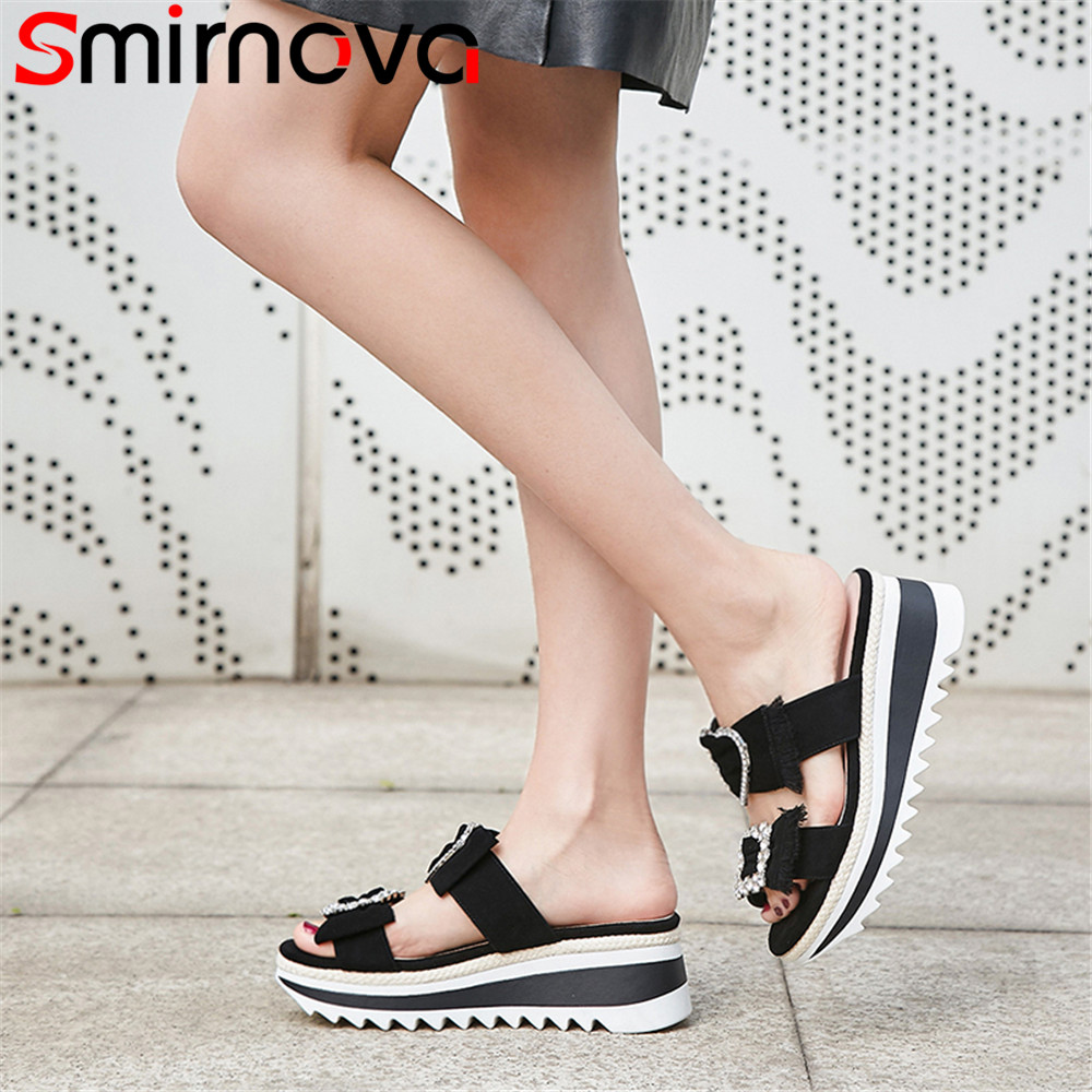 Smirnova black pink fashion summer new shoes woman casual comfortable platform sandals women suede leather bowknot