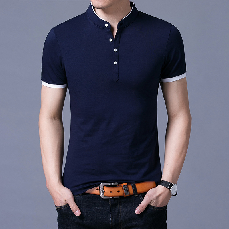 MRMT 2019 brand new men's thin section short-sleeved   Polo   shirt summer stitching solid color cotton collar   Polos   shirts