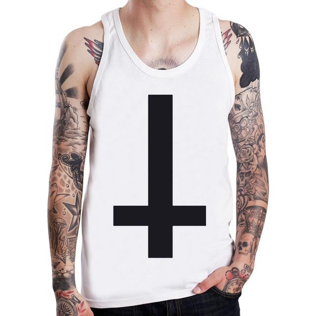 Cruz invertida Anti Símbolo Goth Punk Rock Para Hombre Boy Top Sin Mangas T-shirt Tamaño S-XXXL EE. UU.