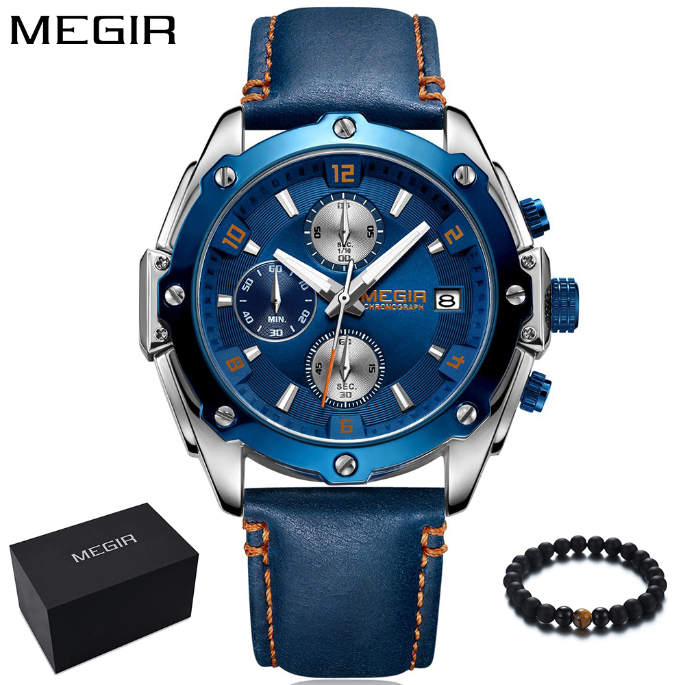 цена на MEGIR New Fashion Mens Watches Men Top Brand Luxury Waterproof Quartz Sport Watch Men Wristwatch Clock Male relojes hombre 2018