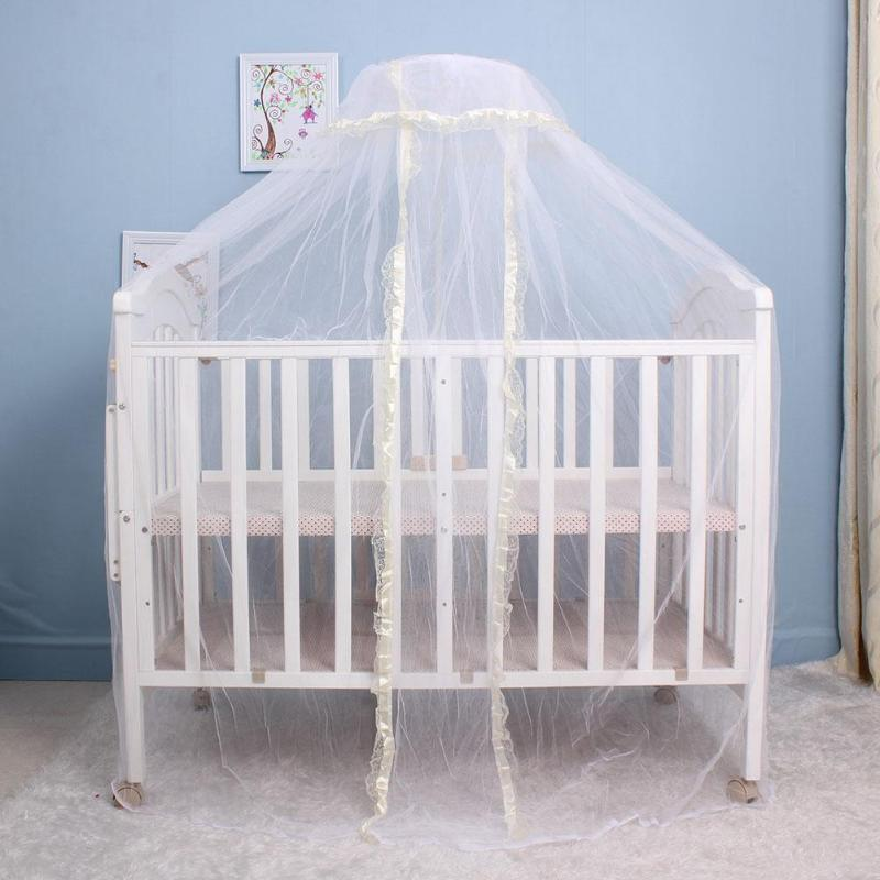 Baby bed Home mosquito net Elegant Baby Infant Round Dome Crib Bed Lace Floor Mosquito Net for Home Nursery